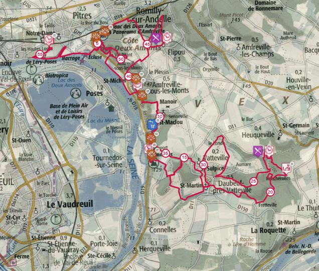 Tracé du Trail des deux amants sur une carte du Vexin.