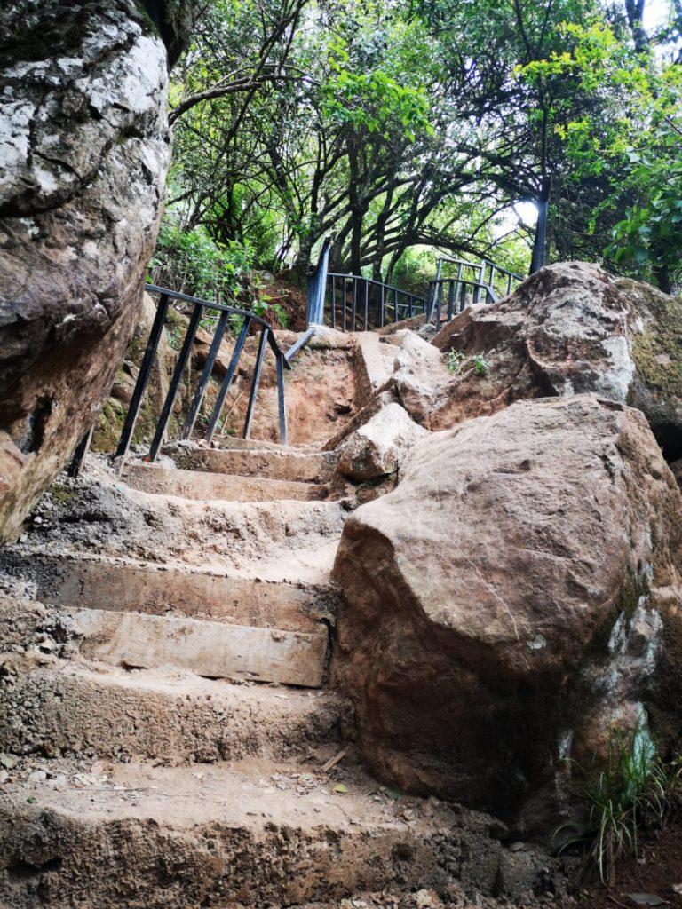 L'escalier qui sert de terrain d'entraînement pour le dénivelé aux Kenyans