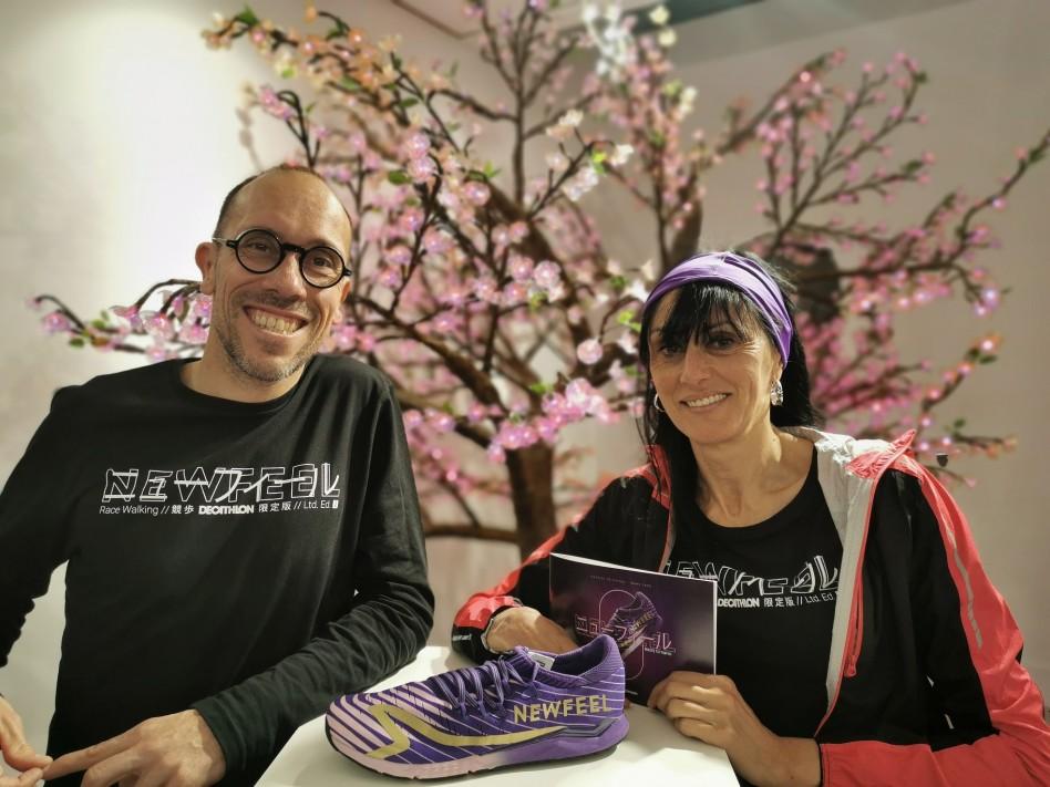 En photo avec Yohann Diniz à la soirée Newfeel pour le lancement de la Race Walking 900