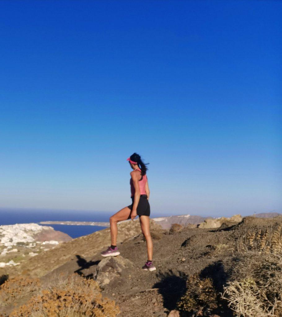 Une Bee regardant vers Oia sur les sommets de Santorin